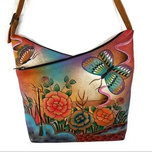 Anuschka V top shoulder handbag hand painted